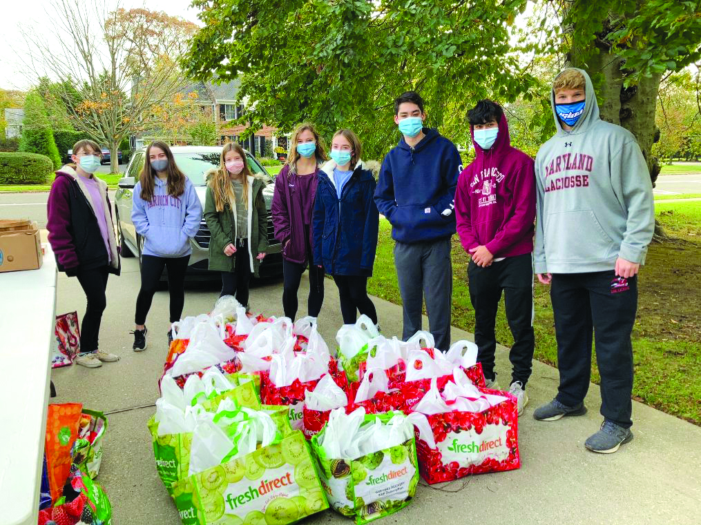 youth group with donated food