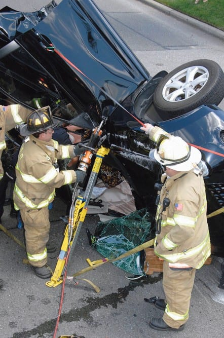 GC Firefighters Extricate Trapped Car Accident Victim   Garden City News