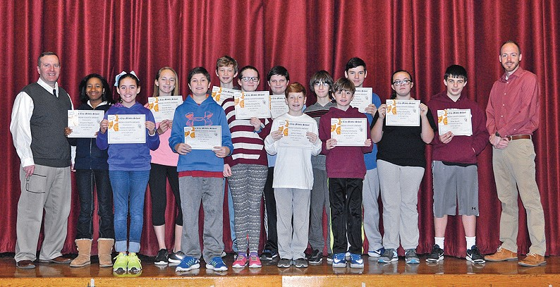 pictured here receiving kindness counts awards for the month of january with garden city - Garden City Middle School