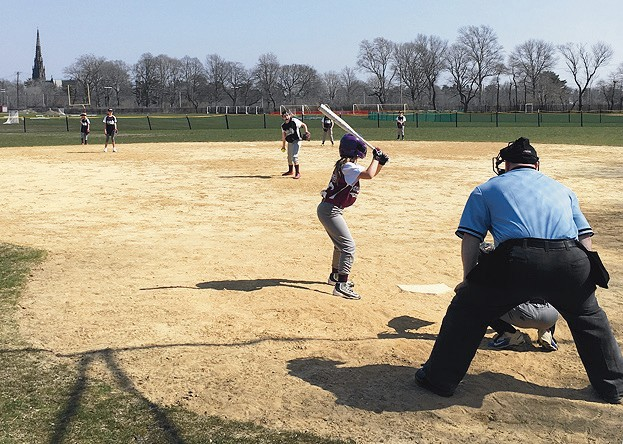 Juliana Clyne kicks off the season with a great hit, Emily Ingersoll pitching