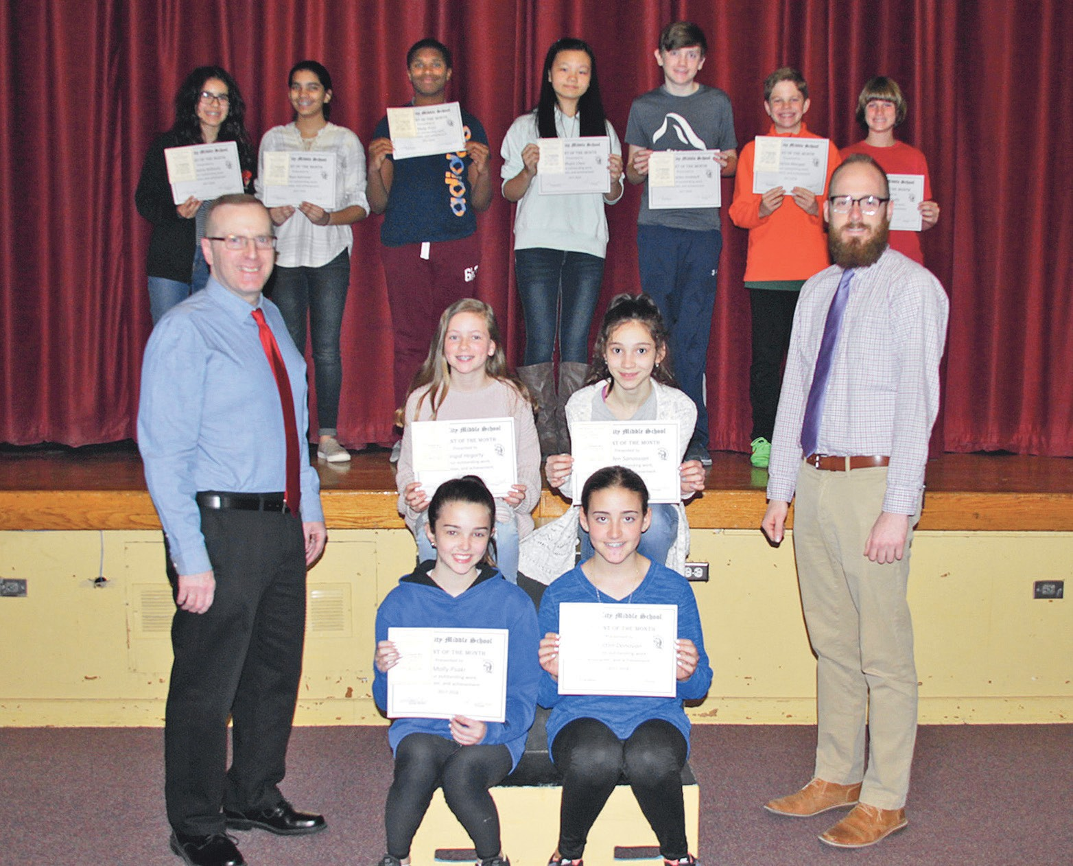 receiving student of the month recognition for the month of march are with garden - Garden City Middle School